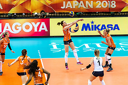 15-10-2018 JPN: World Championship Volleyball Women day 16, Nagoya<br /> Netherlands - USA 3-2 / Lonneke Sloetjes #10 of Netherlands, Maret Balkestein-Grothues #6 of Netherlands