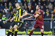 Players tussle in a corner-kick during the Sky Bet League 1 match between Burton Albion and Bradford City at the Pirelli Stadium, Burton upon Trent, England on 6 February 2016. Photo by Aaron Lupton.