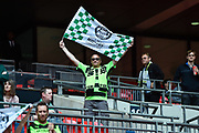 Forest Green Rovers fans during the Vanarama National League Play Off Final match between Tranmere Rovers and Forest Green Rovers at Wembley Stadium, London, England on 14 May 2017. Photo by Adam Rivers.