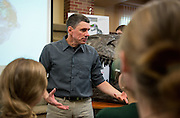 After the Science Cafe, students and community members got a closer look at the dinosaur bones and ask Professor Witmer individual questions.