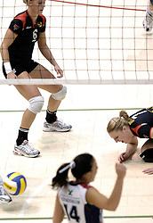 04-03-2006 VOLLEYBAL: FINAL 4 DAMES: AMVJ - PLANTINA LONGA: ROTTERDAM<br /> Longa was veel te sterk voor de dames uit Amstelveen (3-0) / Mered de Vries en Quinta Steenbergen<br /> Copyrights 2006 WWW.FOTOHOOGENDOORN.NL