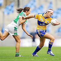 27 September 2009; Eimear Considine, Clare, in action against Donna Maguire, Fermanagh. TG4 All-Ireland Ladies Football Intermediate Championship Final, Clare v Fermanagh, Croke Park, Dublin. Picture credit: Brendan Moran / SPORTSFILE *** NO REPRODUCTION FEE ***