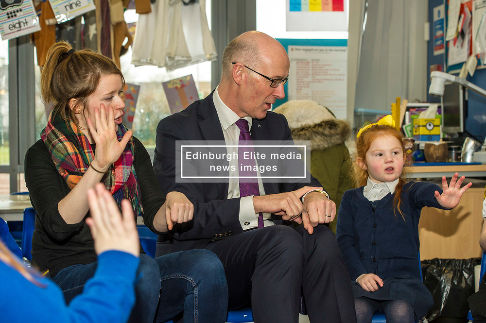 Pictured: John Swinney<br /> Today Deputy First Minister John Swinney visited Niddrie Mill Primary School to announce the publication of Scottish school statistics such as teacher numbers, ratios and class sizes. <br /> <br /> <br /> Ger Harley | EEm 12 December 2017