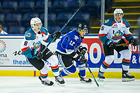 KELOWNA, CANADA - AUGUST 31: Jack Cowell #8 of the Kelowna Rockets checks D-Jay Jerome #12 of the Victoria Royals  on August 31, 2018 at Prospera Place in Kelowna, British Columbia, Canada.  (Photo by Marissa Baecker/Shoot the Breeze)  *** Local Caption ***