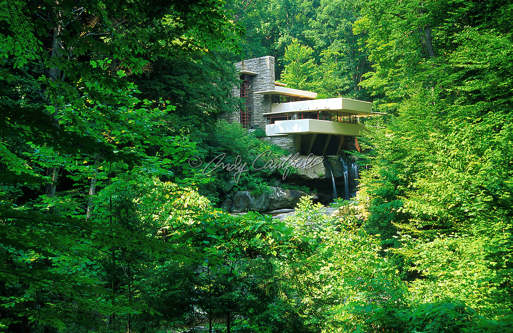 Fallingwater by architect Frank Lloyd Wright 1936, Bear Run, PA, USA. The residence of Edgar J. Kaufmann Sr. The home cantilevers over rocks and a rushing stream. In the Expressionist ot International modern style.