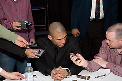 Two-time world champion Miguel Cotto speaks with the press ahead of his fight with highly-rated contender Michael Jennings during a press conference Saturday's WBO world championship fight at Madison Square Garden. 18th Feb 2009