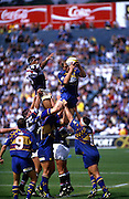 Brendon Timmins collects lineout ball, Otago Highlanders, Super 12 rugby union, 1998. Photo: PHOTOSPORT