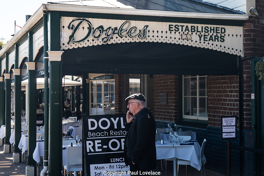 A gentleman outside Doyles Seafood Restaurant, Watsons Bay, Sydney.