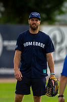 KELOWNA, CANADA - JUNE 28: NHL Montreal Canadiens player Shea Weber warms up in the field prior to the opening charity game of the Home Base Slo-Pitch Tournament fundraiser for the Kelowna General Hospital Foundation JoeAnna's House on June 28, 2019 at Elk's Stadium in Kelowna, British Columbia, Canada.  (Photo by Marissa Baecker/Shoot the Breeze)
