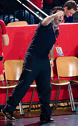 Assistant coach of Krim Uros Bregar reacts during 2nd Round of Group 1 at Women Champions League handball match between RK Krim Mercator, Ljubljana and HC Leipzig, Germany on February 13, 2010 in Arena Kodeljevo, Ljubljana, Slovenia. Krim defeated  Leipzig 32-26. (Photo by Vid Ponikvar / Sportida)