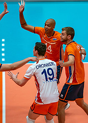 12-06-2019 NED: Golden League Netherlands - Estonia, Hoogeveen<br /> Fifth match poule B - The Netherlands win 3-0 from Estonia in the series of the group stage in the Golden European League / Nimir Abdelaziz #14 of Netherlands, Gijs Jorna #7 of Netherlands