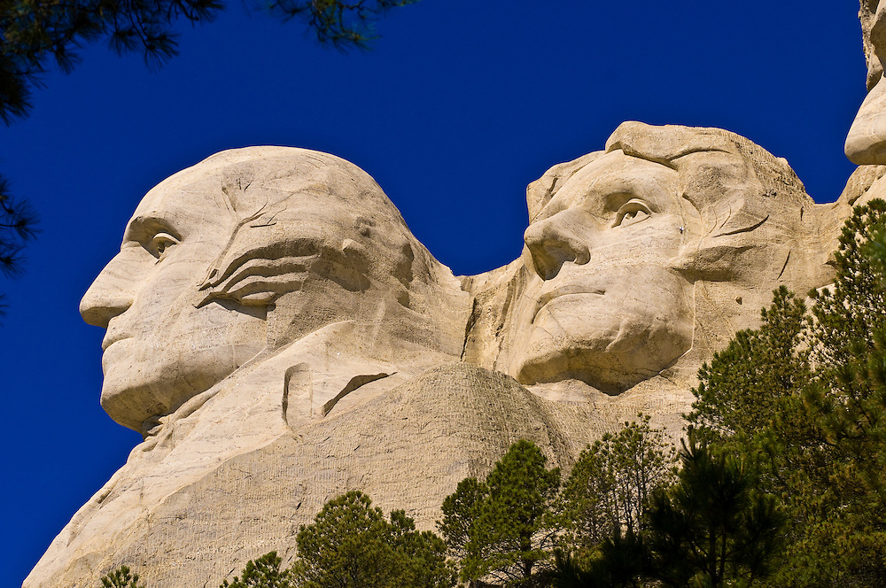 Faces of George Washington and Thomas Jefferson, Mount Rushmore National Memorial, Black Hills, South Dakota USA