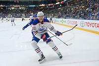 PENTICTON, CANADA - SEPTEMBER 16: Markus Niemelainen #80 of Edmonton Oilers skates against the Vancouver Canucks on September 16, 2016 at the South Okanagan Event Centre in Penticton, British Columbia, Canada.  (Photo by Marissa Baecker/Shoot the Breeze)  *** Local Caption *** Markus Niemelainen;