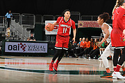 January 25, 2018: Arica Carter #11 of Louisville in action during the NCAA basketball game between the Miami Hurricanes and the Louisville Cardinals in Coral Gables, Florida. The Cardinals defeated the 'Canes 84-74.