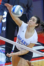 23 November 2017:  Cathryn Cheek mounts the attack during a college women's volleyball match between the Drake Bulldogs and the Indiana State Sycamores in the Missouri Valley Conference Tournament at Redbird Arena in Normal IL (Photo by Alan Look)