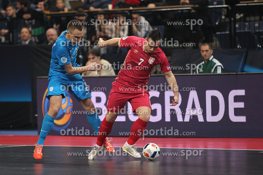 Slobodan Janjic of Serbia vs Rok Mordej of Slovenia during futsal match between National teams of Serbia and Slovenia in Group Stage of UEFA Futsal EURO 2016, on February 2, 2016 in Kombank Beogradska arena, Belgrade, Serbia. Photo by Marko Metlas / Sportida