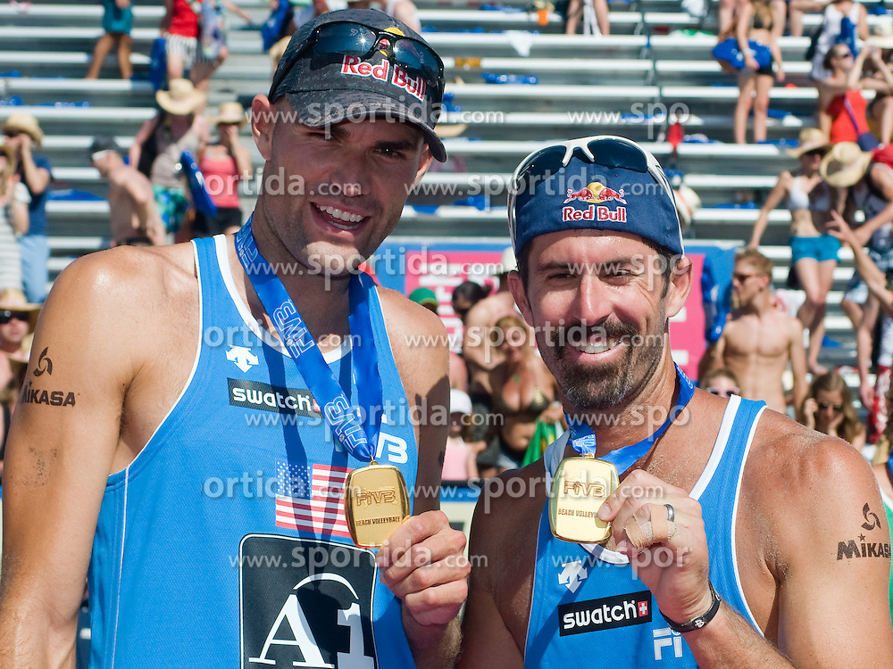 First place and winning team USA,  Phil Dalhausser and Todd Rogers, at A1 Beach Volleyball Grand Slam tournament of Swatch FIVB World Tour 2010, final, on August 1, 2010 in Klagenfurt, Austria. (Photo by Matic Klansek Velej / Sportida)