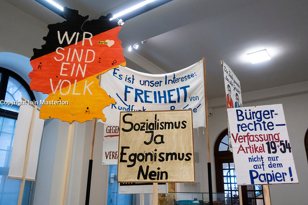 Banners and signs from 1989 demonstrations against East Germany at the Berlin History Museum, Germany
