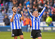 Sheffield Wednesday Midfielder Barry Bannan and Sheffield Wednesday Defender Vincent Sasso celebrate at the final whistle during the Sky Bet Championship match between Sheffield Wednesday and Leeds United at Hillsborough, Sheffield, England on 16 January 2016. Photo by Adam Rivers.