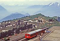 Cog train at station atop Mount Rigi, Switzerland
