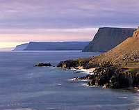 Cliffs and coast of the Latrabjarg Peninsula on the Denmark Strait, Westfjords of Iceland, Europe