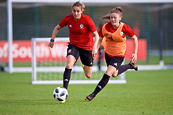 NEWPORT, WALES - Tuesday, November 6, 2018: Wales' Kayleigh Green and Chloe Williams during a training session at Dragon Park ahead of two games against Portugal. (Pic by Paul Greenwood/Propaganda)
