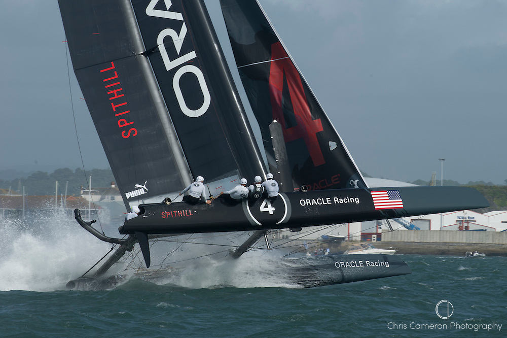 Oracle Racing Spithill lose control in the speed runs in front of the Hoe at Plymouth. America's Cup World Series preliminaries day two. 11/9/2011