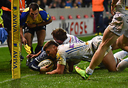 Exeter Chiefs centre Henry Slade pushes Sale Sharks scrum-half Faf de Klerk into touch late in the game during the The Aviva Premiership match Sale Sharks -V- Exeter Chiefs  at The AJ Bell Stadium, Salford, Greater Manchester, England on Friday, October 27, 2017. (Steve Flynn/Image of Sport)