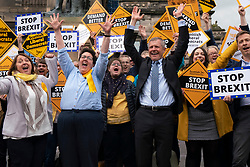 Scottish Liberal Democrats in stop Brexit demonstration in Edinburgh on 27 May 2019. Centre is leader Willie Rennie