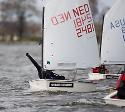 08_0301_OPTI_EASTER © Sander van der Borch BRAASSEMMERMEER THE NETHERLANDS, 21 March 2008. 23rd Magic Marine International Easter Optimist Regatta 2008. 214 Opti sailors from around Europe and the USA race on a small Dutch lake.