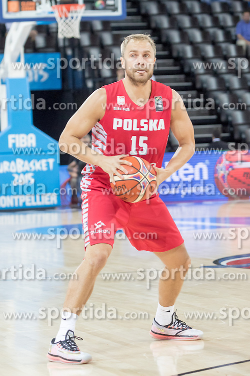 06.09.2015, Park Suites Arena, Montpellier, FRA, Russland vs Polen, Gruppe A, im Bild LUKASZ KOSZAREK (15) // during the FIBA Eurobasket 2015, group A match between Russia and Poland at the Park Suites Arena in Montpellier, France on 2015/09/06. EXPA Pictures &copy; 2015, PhotoCredit: EXPA/ Newspix/ Pawel Pietranik<br /> <br /> *****ATTENTION - for AUT, SLO, CRO, SRB, BIH, MAZ, TUR, SUI, SWE only*****