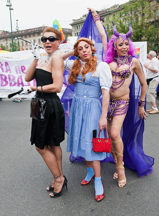MILAN, ITALY - JUNE 12:  Three  participants to the Gay Pride Milano at the start of the march on June 12, 2010 in Milan, Italy.  Pride Milano is one of the oldest gay marches in Italy and today's march is against homophobic violence  (Photo by Marco Secchi/Getty Images)