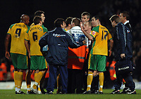 Photo: Ashley Pickering.<br />Norwich City v Sheffield Wednesday. Coca Cola Championship. 09/12/2006.<br />Norwich players surround the ref, Andy Woolmer at the end of the match