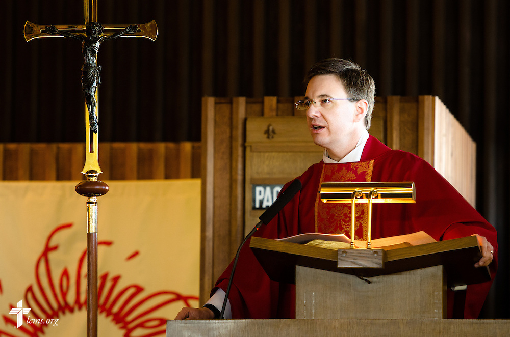 The Rev. Christopher Esget preaches during a pre-March for Life LCMS Divine Service Wednesday, Jan. 22, 2014, at Immanuel Evangelical-Lutheran Church in Alexandria, Va. LCMS Communications/Erik M. Lunsford