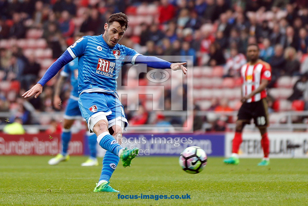 Adam Smith of Bournemouth shooting during the Premier League match at the Stadium Of Light, Sunderland<br /> Picture by Simon Moore/Focus Images Ltd 07807 671782<br /> 29/04/2017