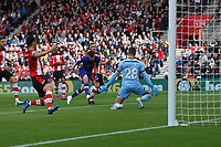 Football - 2019 / 2020 Premier League - Southampton vs. Chelsea<br /> <br /> Mason Mount of Chelsea fires past Southampton's Angus Gunn to put Chelsea two up at St Mary's Stadium Southampton<br /> <br /> COLORSPORT/SHAUN BOGGUST