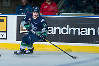 KELOWNA, CANADA - APRIL 30: Sami Moilanen #18 of the Seattle Thunderbirds skates with the puck against the Kelowna Rockets on April 30, 2017 at Prospera Place in Kelowna, British Columbia, Canada.  (Photo by Marissa Baecker/Shoot the Breeze)  *** Local Caption ***