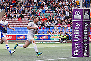 Lloyd White  goes through to add another try for Widnes during the First Utility Super League match between Widnes Vikings and Wakefield Wildcats at the Select Security Stadium, Halton, United Kingdom on 21 August 2016. Photo by Craig Galloway.