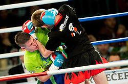 Grega Rudolf of Slovenia (Blue) vs David Elszzaszer of Hungary (Red) in Kickboxing Kick Light during First Class Boxing event, on April 11, 2015 in Arena Tabor, Maribor, Slovenia. Photo by Vid Ponikvar / Sportida