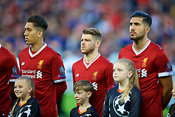 LIVERPOOL, ENGLAND - Wednesday, August 23, 2017: Liverpool's Alberto Moreno lines-up before the UEFA Champions League Play-Off 2nd Leg match between Liverpool and TSG 1899 Hoffenheim at Anfield. (Pic by David Rawcliffe/Propaganda)