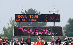 The Final scoreline reads - Yeovil Town 3-2 Luton Town - Photo mandatory by-line: Harry Trump/JMP - Mobile: 07966 386802 - 22/08/15 - SPORT - FOOTBALL - Sky Bet League Two - Yeovil Town v Luton Town - Huish Park, Yeovil, England.
