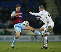 Photo. Aidan Ellis.<br />Bolton Wanderers v Aston Villa.<br />Carling Cup Semi Final 1st Leg.<br />21/01/2004<br />Bolton's Kevin Nolan and Villa's Ronnie Johnson