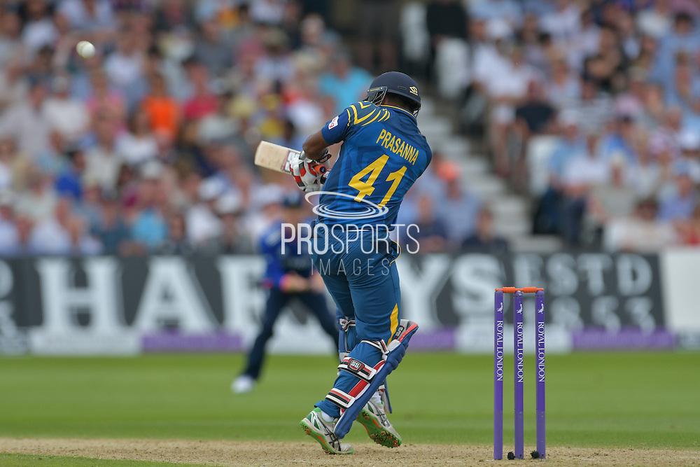 Seekkuge Prasanna of Sri Lanka pulls Liam Plunkett of England (not shown) for a second six during the Royal London ODI match between England and Sri Lanka at Trent Bridge, West Bridgford, United Kingdom on 21 June 2016. Photo by Simon Trafford.