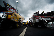 April 22-24, 2016: NHRA 4 Wide Nationals, Charlotte NC. Funny cars prep for a race