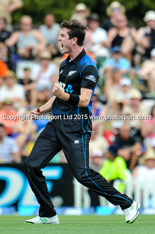 Adam Milne of the Black Caps celebrates a wicket in the first ODI, Black Caps v Sri Lanka, at Hagley Oval, Christchurch, 11 January 2015. Photo:John Davidson/www.photosport.co.nz