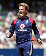 Photo © ANDREW FOSKER / SECONDS LEFT IMAGES 2008  -  Graeme Swann is delighted as he celebrates after he  takes the wicket of Jacob Oram (52) from the last ball of his stint caught by Stuart Broad - England v New Zealand Black Caps - 5th ODI - Lord's Cricket Ground - 28/06/08 - London -  UK - All rights reserved