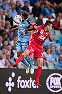 SYDNEY, NSW- NOVEMBER 21: Sydney FC defender Michael Zullo (7) and Adelaide United forward Nikola Mileusnic (17) go up for the ball at the FFA Cup Final Soccer between Sydney FC and Adelaide United on November 21, 2017 at Allianz Stadium, Sydney. (Photo by Steven Markham/Icon Sportswire)