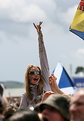Fans of James Morrison plays on the main stage at T in the Park, Saturday 7 July 2007..T in the Park festival took place on the 6th, 7th and 8 July 2007, at Balado, near Kinross in Perth and Kinross, Scotland. This was the first time the festival had been held over three days..Pic ©2011 Michael Schofield. All Rights Reserved..