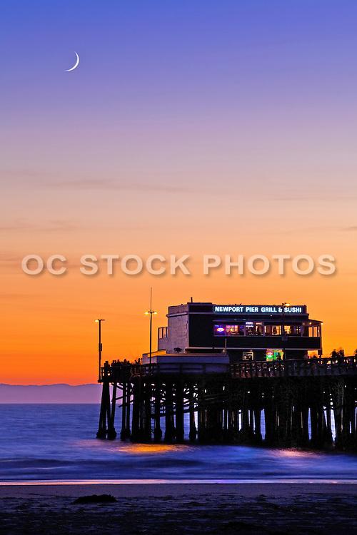 Vertical Stock Photo of Newport Beach Pier at Dusk