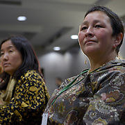 Lene Kielsen Holm (Inuk/Greenland), listens to the speakers during the the opening ceremony of the  International Women's Earth and Climate Summit, Friday, September 20, 2013. Leaders from 35+ countries gathered for the drafting of a Women's Climate Action Agenda in Suffern, New York September 20-23rd, 2013 as part of the International Women's Earth and Climate Summit.  For a full list of Summit delegates and an agenda visit www.iweci.org. Photo by Lori Waselchuk/Magazines OUT